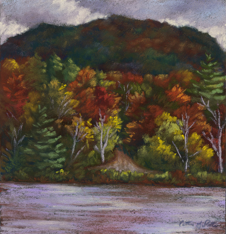 """Autumn Layers"" 8x8"" soft pastel, painted during the Tupper Lake Plein Air Festival 2020 (Available)."