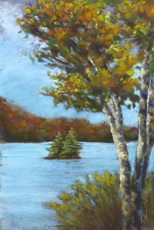"""Birch By Tupper"" 7x11"" soft pastel, painted during the Tupper Lake Plein Air Festival 2020."