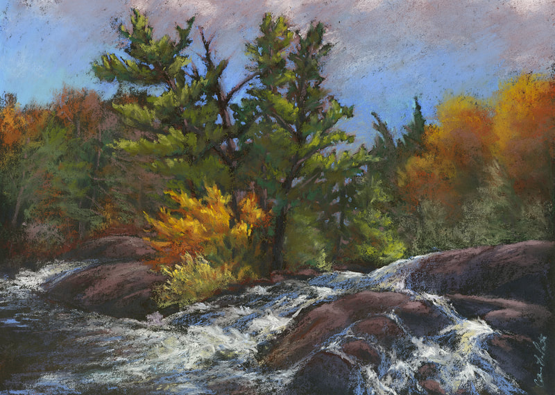 """Bog River Falls"" 12x16"" soft pastel, painted during the Tupper Lake Plein Air Festival 2020."