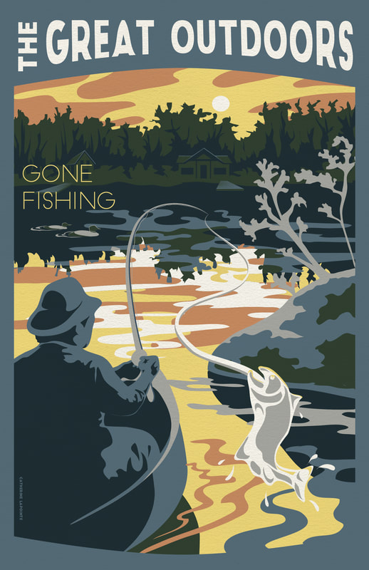 Gone Fishing Great Outdoors Travel Poster