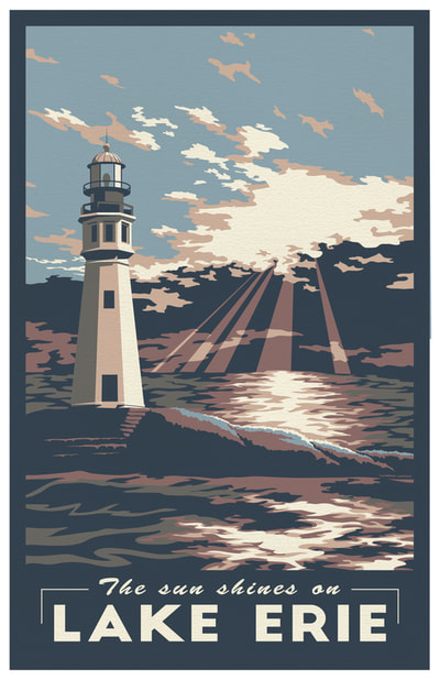 Lake Erie Travel Poster Buffalo Main Lighthouse