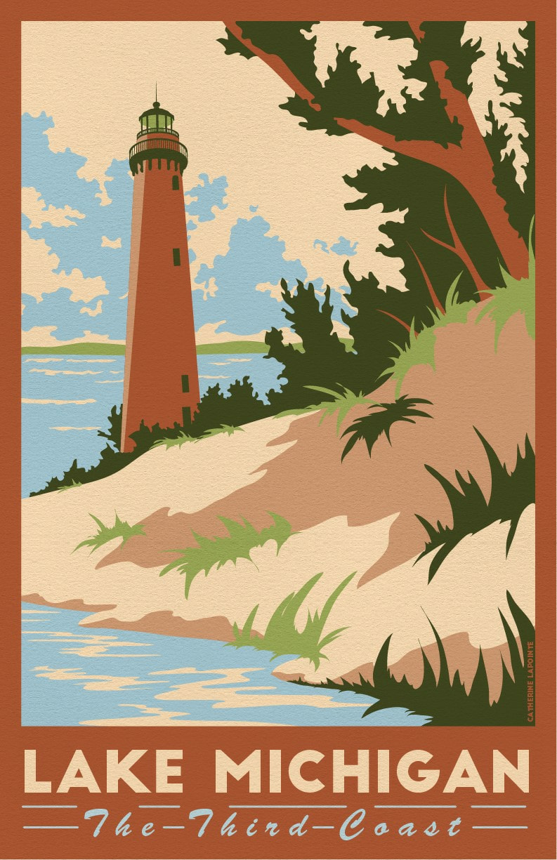 Lake Michigan Travel Poster Little Sable Point Lighthouse