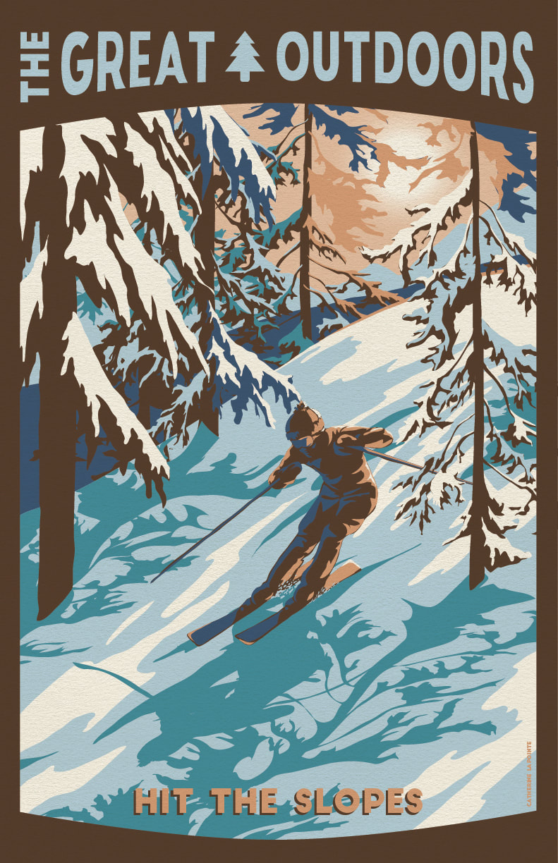 Hit the Slopes Great Outdoors Travel Poster