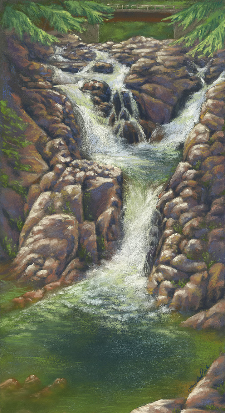 """Split Rock Falls"" 10x18"", painted during the 2020 Adirondack Plein Air Festival."