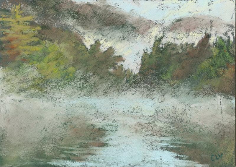"""Star Lake Fog"" 5x7"" pastel (2020). Available."