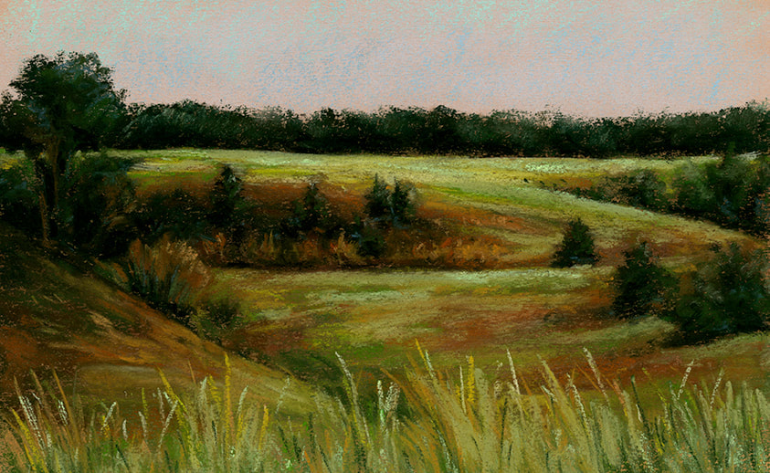 "Wind Cave Prairie, pastel 11x7"" (2019)  Wind Cave National Park"
