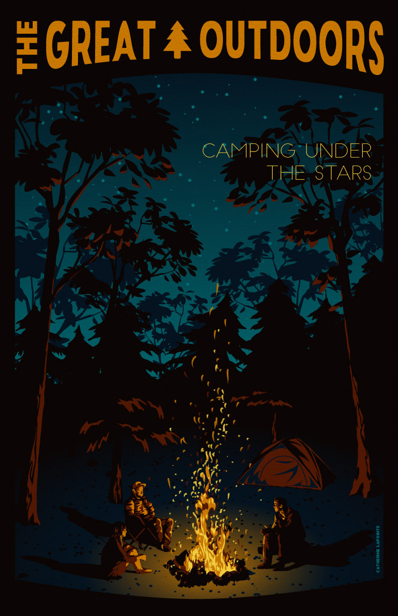 Camping Under The Stars Great Outdoors Travel Poster