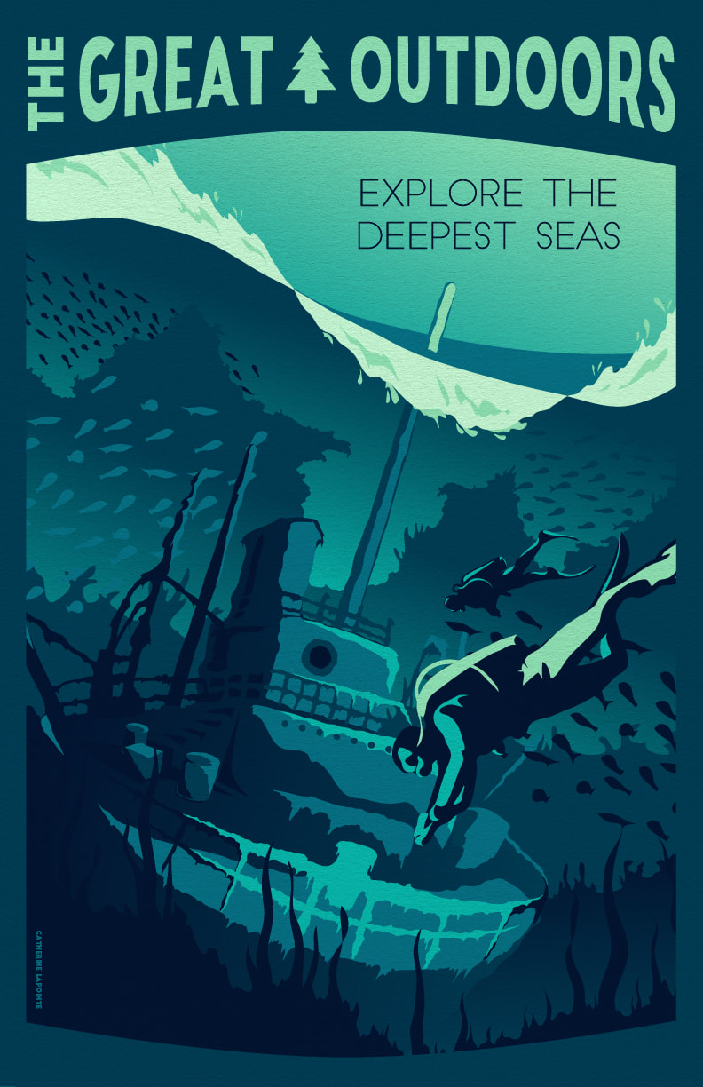 Explore The Deepest Seas Great Outdoors Travel Poster