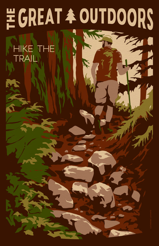 Hike the Trail Great Outdoors Travel Poster