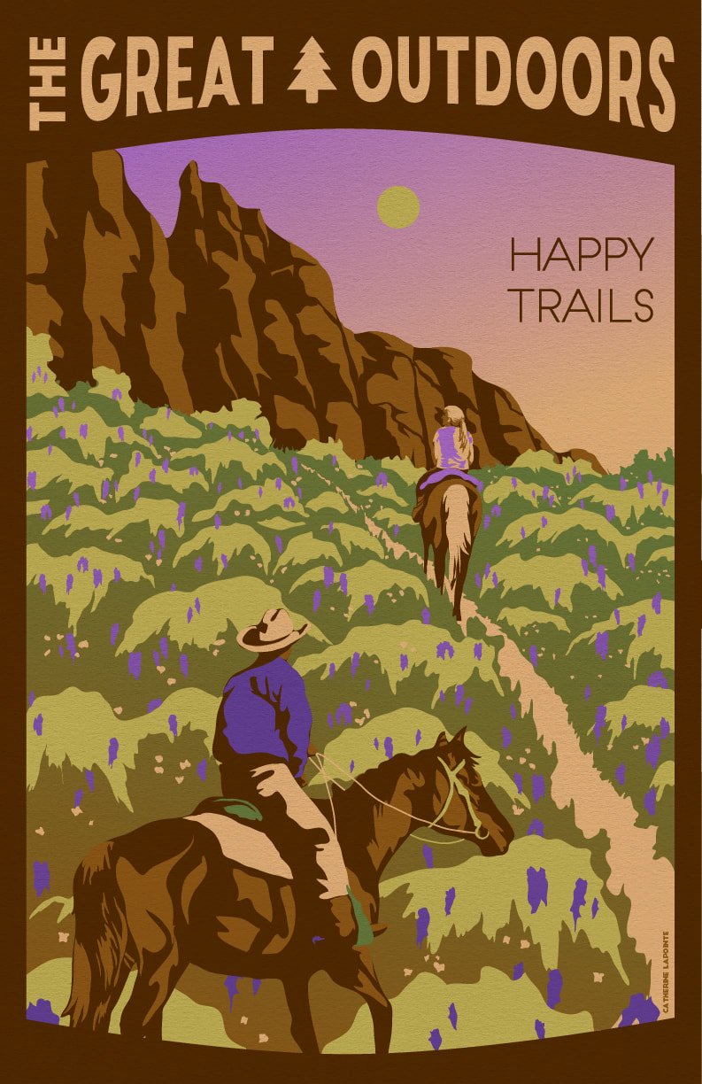 Happy Trails Great Outdoors Travel Poster